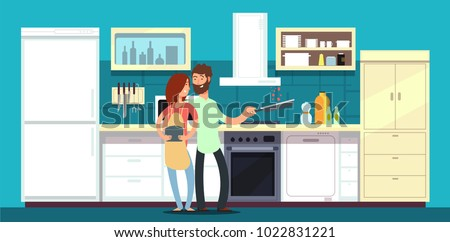 Happy couple cooking in kitchen vector illustration. Man and woman happy on kitchen cooking