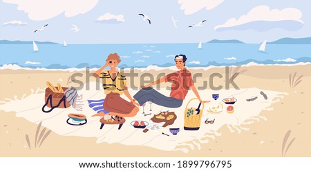 Happy couple drinking wine and eating at seaside. Young man and woman spending time together at picnic on sandy beach. People resting and enjoying outdoor date. Flat vector illustration