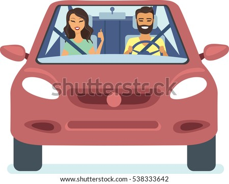 happy couple driving the red