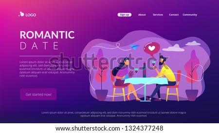 Happy couple in love on romantic date sitting at table and drinking wine, tiny people. Romantic date, romantic relationship, love story concept. Website vibrant violet landing web page template.