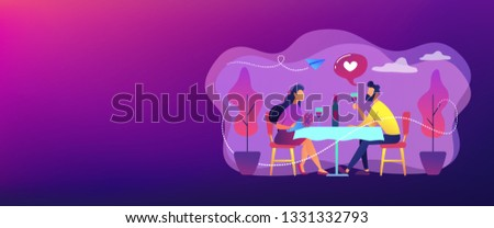Happy couple in love on romantic date sitting at table and drinking wine, tiny people. Romantic date, romantic relationship, love story concept. Header or footer banner template with copy space.