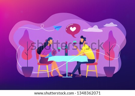 Happy couple in love on romantic date sitting at table and drinking wine, tiny people. Romantic date, romantic relationship, love story concept. Bright vibrant violet vector isolated illustration
