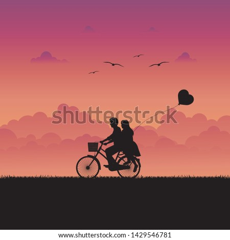 happy couple is riding a
