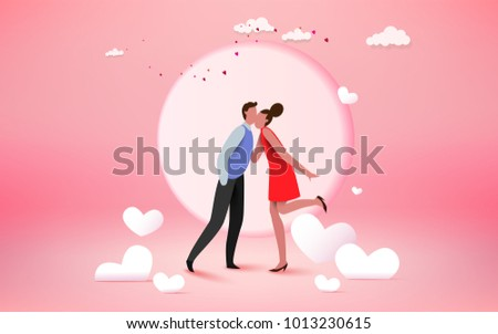 happy couple lover kissing with