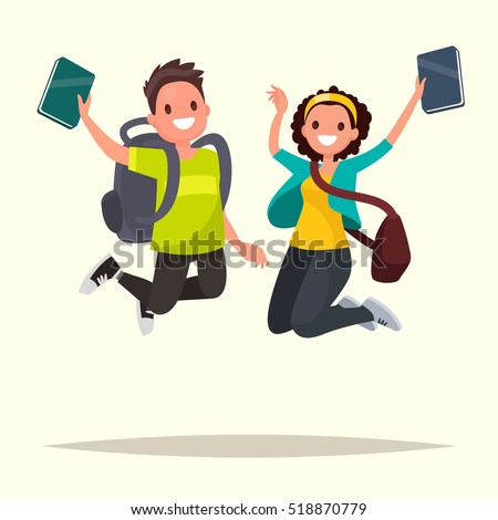 Happy couple of students jumping for joy. Vector illustration in a flat style