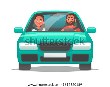 Happy couple of young people rides a car. A man driving a vehicle and a woman sitting in the passenger seat. A fun car trip  husband and wife. Vector illustration in cartoon style