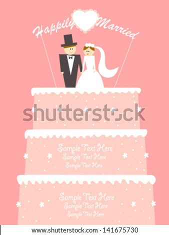 happy couple on pink wedding cake
