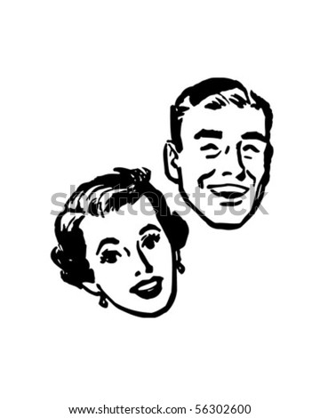 Happy Couple - Retro Clip Art