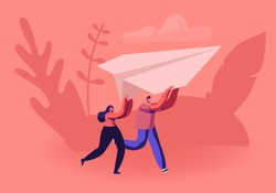 Happy Couple Running with Paper Airplane in Hands. Origami Hobby or Launching New Business Start Up Concept. Tiny Male and Female Character Fly Plane in Air Together. Cartoon Flat Vector Illustration