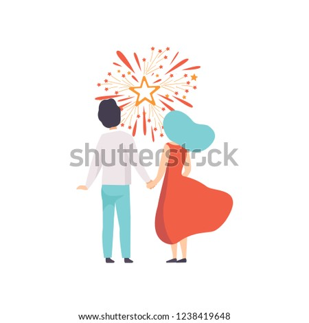 happy couple watching explosion