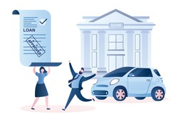 Happy couple with approved car loan and new modern auto. Bank building and credit agreement with stamp- approved. Male and female characters in trendy style. Vector illustration