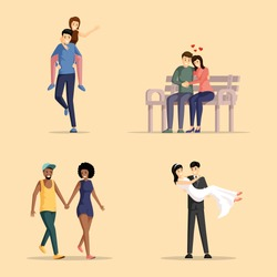 Happy couples flat vector illustrations set. Men and women in love bonding together cartoon characters pack. Girlfriends and boyfriends having fun, hugging, holding hands, husband carrying wife