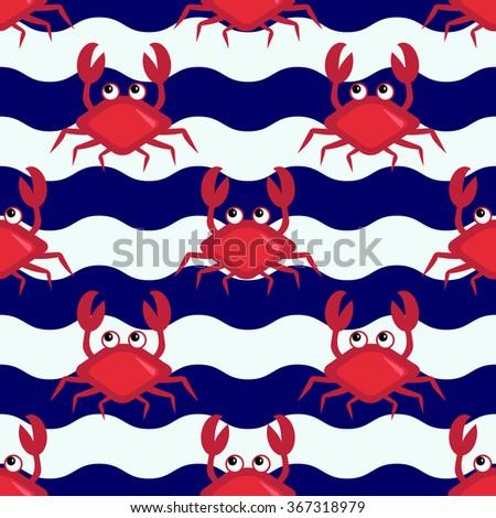happy crabs  seamless nautical