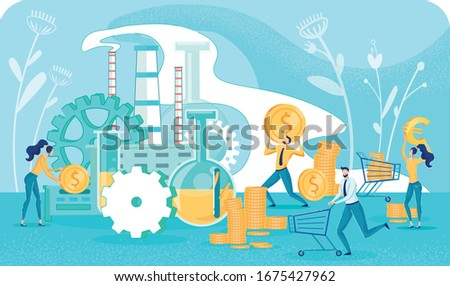 Happy Crazy People Running with Trolley Carts and Collecting Gold Coins. Money Manufacturing Process. Profitable Investment Strategy. Effective Financial Business Plan. Vector Flat Illustration Foto stock ©