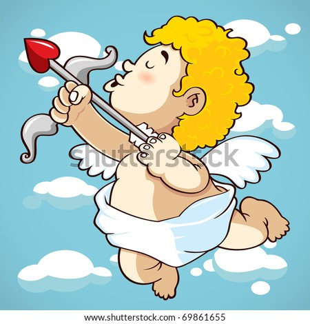 happy cupid, suitable for valentine's day - stock vector