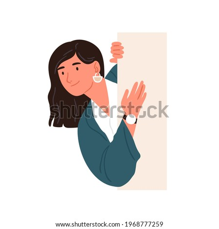 Happy curious person looking from behind wall, peeking out and searching for smth. Smiling woman peeping, watching and spying. Curiosity concept. Flat vector illustration isolated on white background