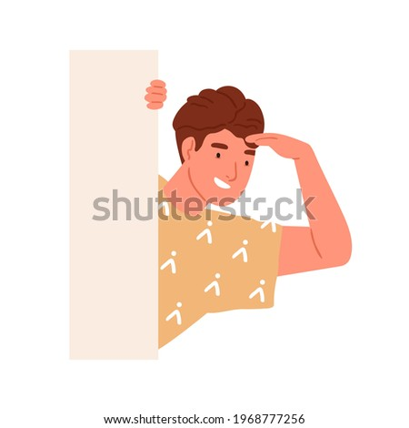 Happy curious person peeking from behind wall, peeping out and seeking for smth. Smiling man spying, monitoring and searching. Curiosity concept. Flat vector illustration isolated on white background