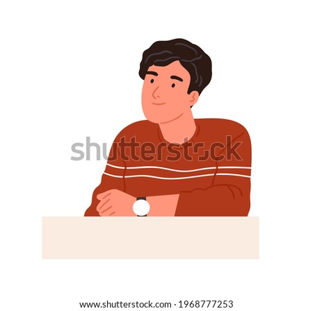 Happy curious person with interested face looking at smth, sitting behind desk and thinking. Smiling friendly man listening attentively. Colored flat vector illustration isolated on white background