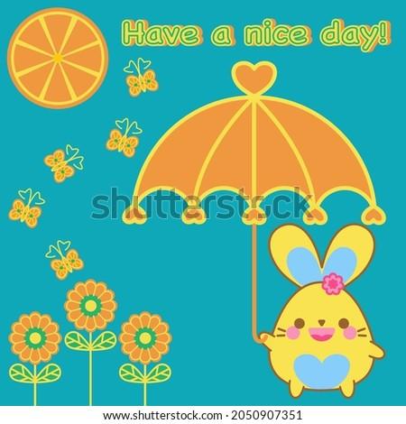 happy cute bunny hold orange
