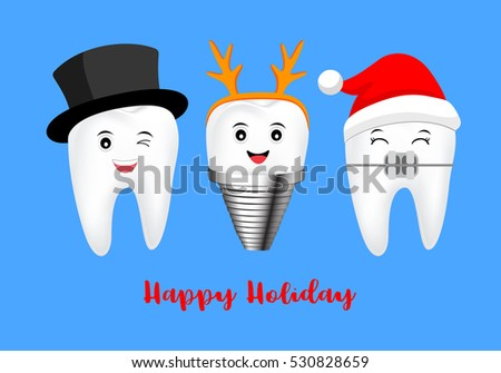 happy cute cartoon tooth. Illustration isolated on blue background. great for celebrate Christmas and Happy Holiday.