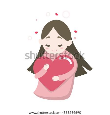 happy cute girl's hugging heart