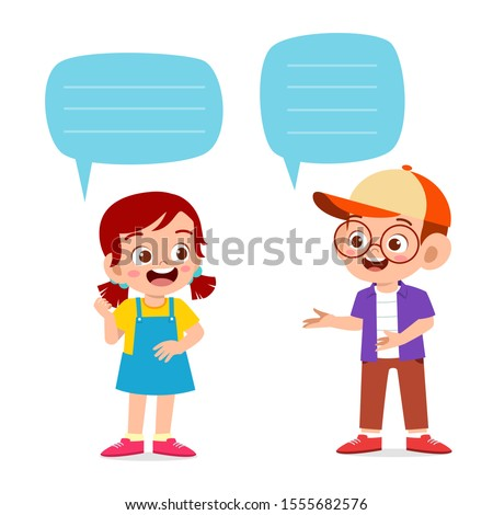 happy cute kid boy and girl dialog