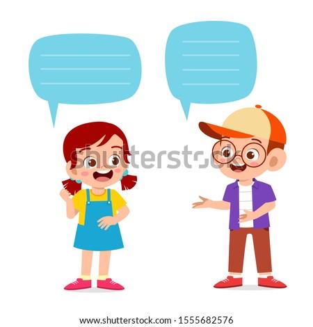 happy cute kid boy and girl dialog