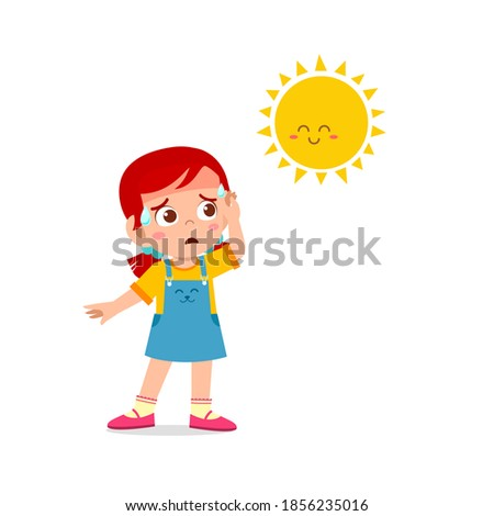 happy cute kid boy and girl feels so thirsty because of hot weather at summer season Photo stock ©