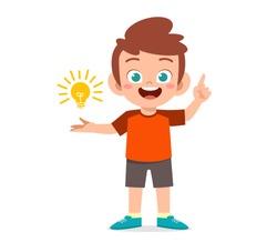 happy cute kid boy holding lamp idea
