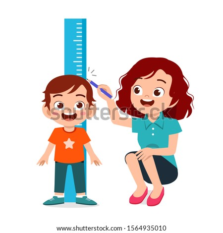 happy cute kid boy measuring height with mom vector