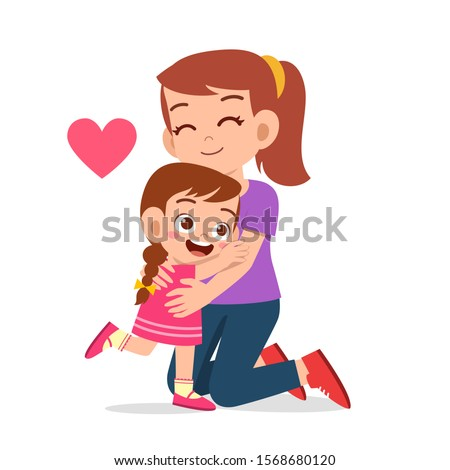 happy cute kid girl hugging mom love Stockfoto ©