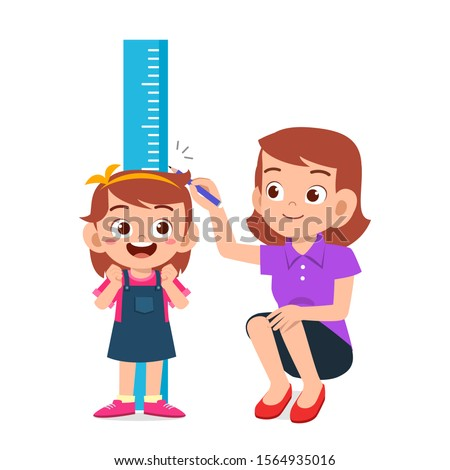 happy cute kid girl measuring height with mom vector