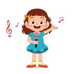 happy cute kid girl sing a song