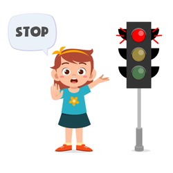 happy cute kid girl with traffic sign