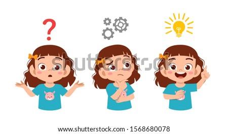 happy cute kid girls search idea process