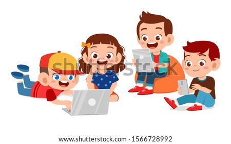 happy cute kids boy and girl using tablet vector