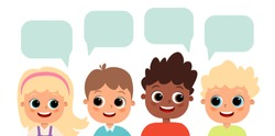 Happy cute kids boys and girls dialog. Happy cute girl and boy with dialog boxes. Children of different nationalities. Girl and boy are talking. Vector flat illustration. Cartoon children. Dialogue