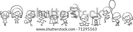 Happy cute kids play, dance, jump, vector
