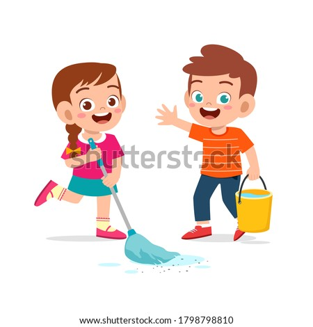happy cute little kid boy and girl do chores cleaning floor Stock photo ©
