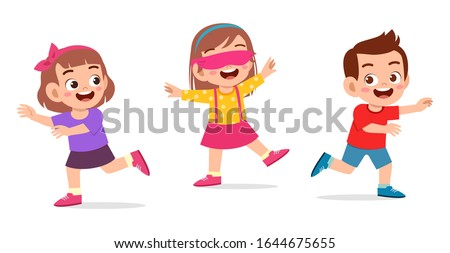 happy cute little kid boy and girl play tag blindfolded Stock photo ©