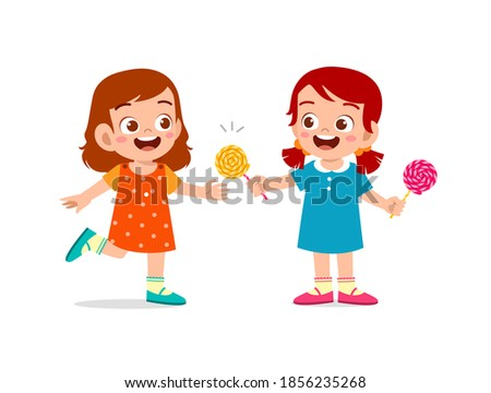 happy cute little kid boy and girl sharing food to friend