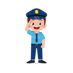 happy cute little kid boy wearing police uniform