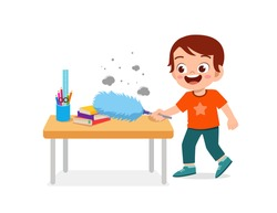 happy cute little kid cleaning table