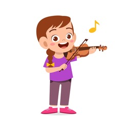 happy cute little kid girl play violin