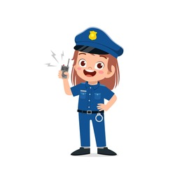 happy cute little kid girl wearing police uniform