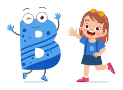 happy cute little kid studies alphabet letter B character