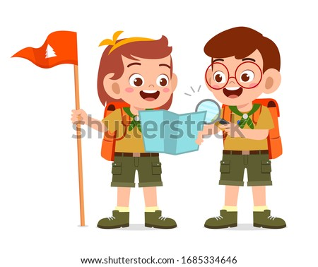 happy cute little scout boy and girl do exploring Foto stock ©