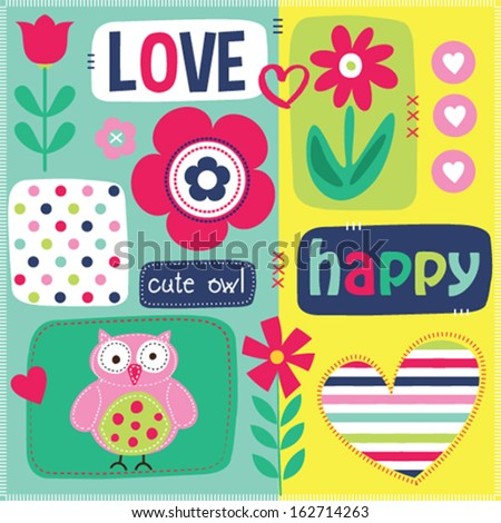 happy cute owl love vector invitation