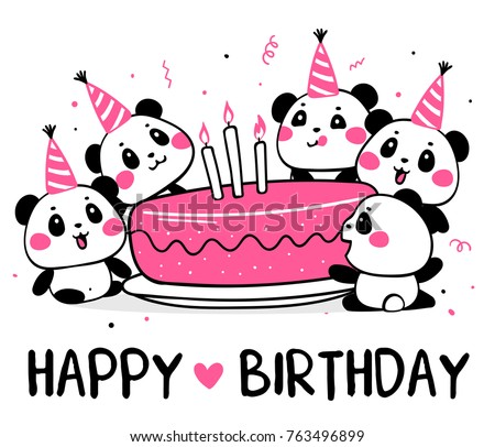Happy cute pandas celebrate birthday. Vector illustration of many lovely cartoon pandas with big pink birthday cake on white background with inscription. Flat line art style design for party card