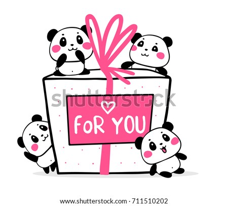 Happy cute pandas congratulate on holiday on white background. Vector illustration of many lovely cartoon pandas and big gift box with card. Flat style romantic design for greeting card, valentine day